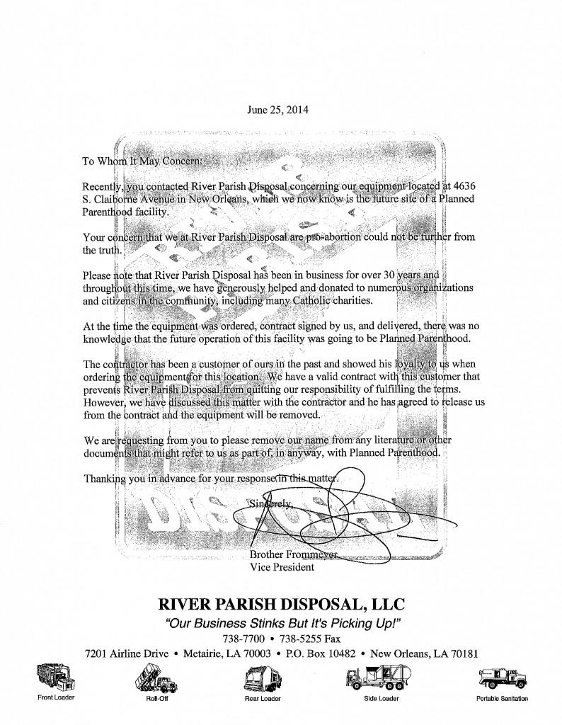 River Parish Disposal response_page1_image1